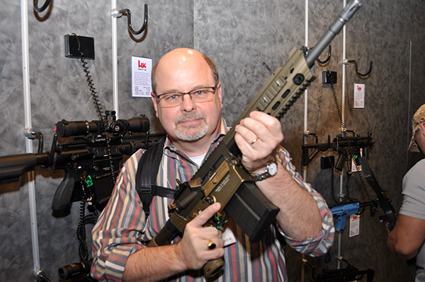 Also at the 2015 SHOT Show, here I holding a Heckler and Koch 417, which is Boxers' primary rifle.
