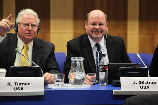From my Big Boy Job. My colleague Ray Turner and I as part of the US delegation to the International Atomic Energy Agency Vienna, Austria. The topic was the regulation of radioactive scrap that crosses international boundaries.
