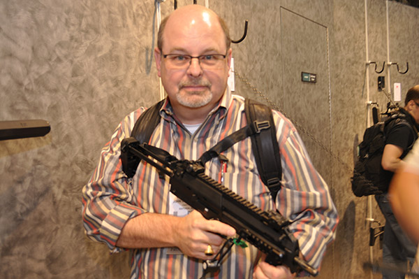 Also at the 2015 SHOT Show, here I holding a Heckler and Koch 417, which is Boxer's primary rifle.